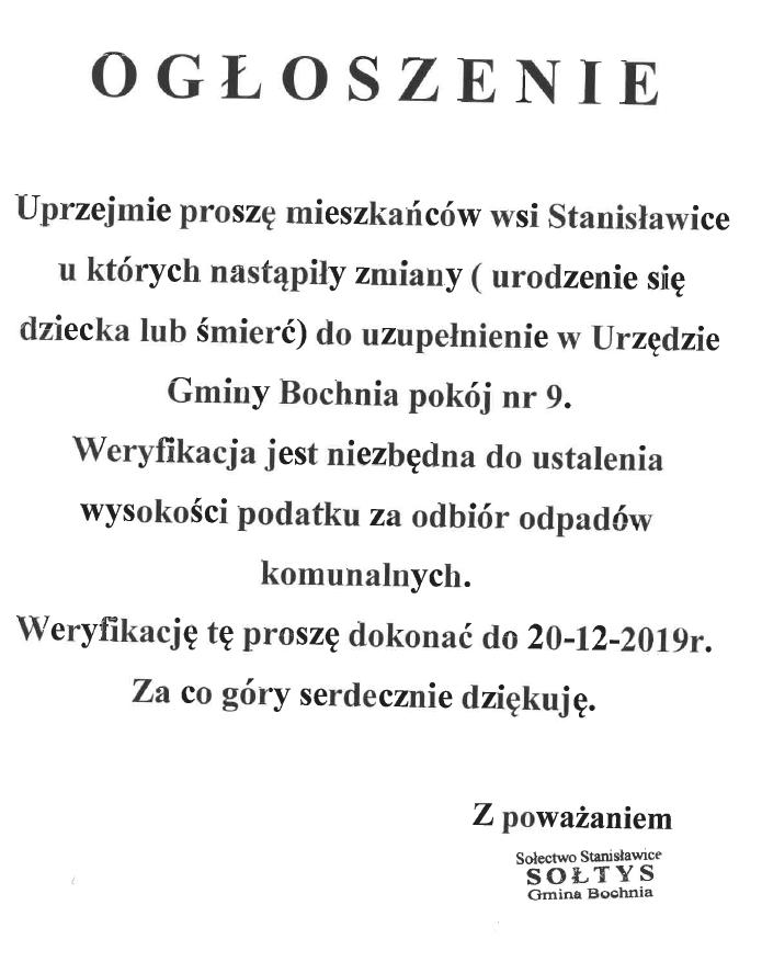 Stanisławice Gmina Bochnia